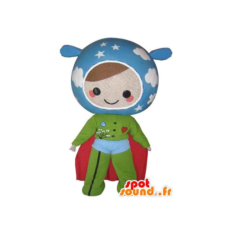 Mascote boneca nas cores da Terra. super-herói - MASFR032112 - super-herói mascote