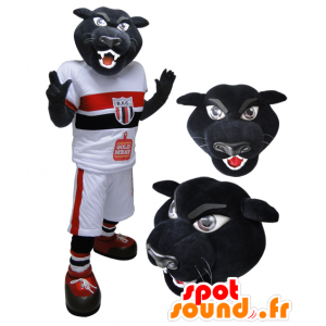 Mascot musta tiikeri, pantteri urheiluvaatteet - MASFR032122 - urheilu maskotti