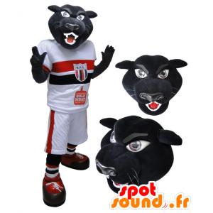 Mascot zwarte tijger, panter sportkleding - MASFR032122 - sporten mascotte