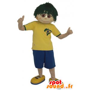 Poika maskotti vihreä peruukki - MASFR032123 - Maskotteja Boys and Girls