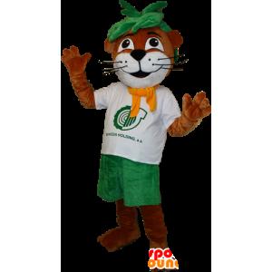 Mascot ενυδρίδας, καφέ και λευκό κάστορα