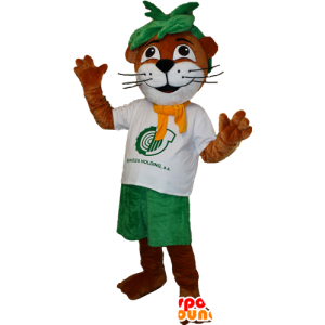 Mascot vydra, hnědé a bílé Beaver