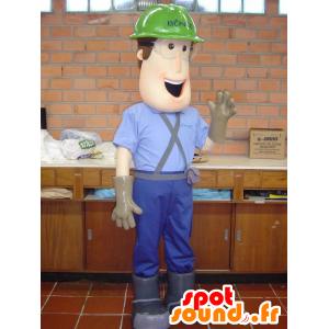 Worker mascot carpenter with headphones - MASFR032127 - Human mascots