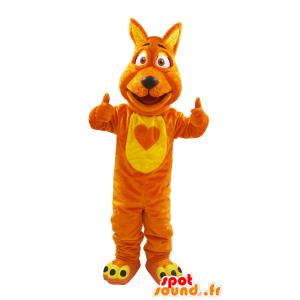 Lupo mascotte, arancio e giallo volpe, morbido e peloso - MASFR032130 - Mascotte lupo