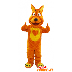 Wolf mascot, orange and yellow fox, soft and hairy - MASFR032130 - Mascots Wolf