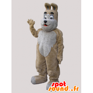 Mascot beige og grå hund, søt og søt - MASFR032131 - Dog Maskoter