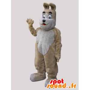 Maskotka beżowy i szary pies, słodkie i słodkie - MASFR032131 - dog Maskotki
