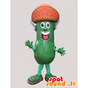 Cetriolo mascotte, salamoia gigante con un cappello - MASFR032132 - Mascotte di verdure