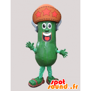 Cucumber mascot, giant pickle with a hat - MASFR032132 - Mascot of vegetables