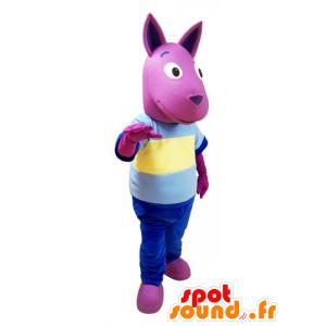 Rosa Känguru-Maskottchen mit einem bunten Outfit - MASFR032136 - Känguru-Maskottchen