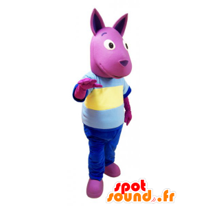 Rosa mascotte di canguro con un vestito colorato - MASFR032136 - Mascotte di canguro