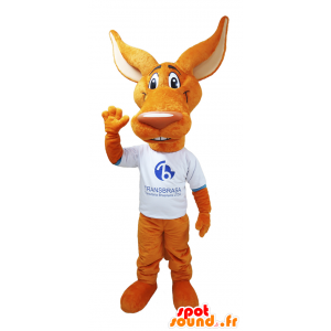 Mascot coyote, wolf orange with big ears - MASFR032137 - Mascots Wolf
