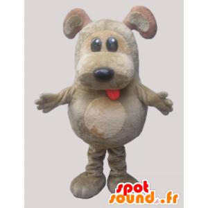 Grau und beige Hund Maskottchen. plump Maskottchen - MASFR032138 - Hund-Maskottchen