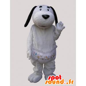 Weißer Hund mit schwarzen Ohren Maskottchen - MASFR032139 - Hund-Maskottchen