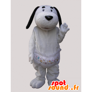 Mascot witte hond met zwarte oren - MASFR032139 - Dog Mascottes