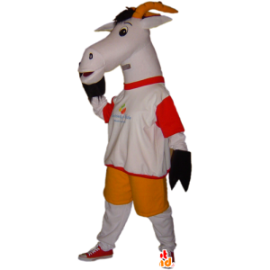 Mascotte capra, capra grigia e bianca. mascotte biquette