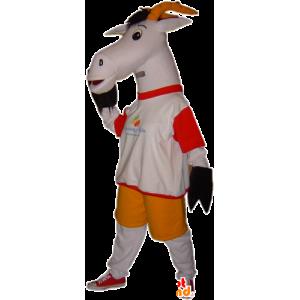 Koza maskot, šedá a bílá koza. maskot biquette