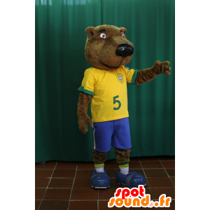 Beaver mascot, brown bear holding football