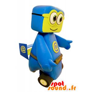 Blau und Gelb Auto-Maskottchen. Speedy Mascotte - MASFR032143 - Maskottchen von Objekten