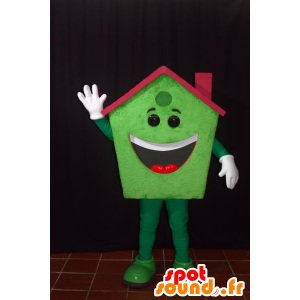 Mascot green home, smiling, with a red roof - MASFR032146 - Mascots home