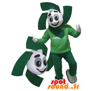 Bianco e verde mascotte. mascotte verde - MASFR032147 - Umani mascotte