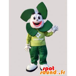 Weiß und grün Mann Maskottchen. Maskottchen Casabem - MASFR032148 - Menschliche Maskottchen