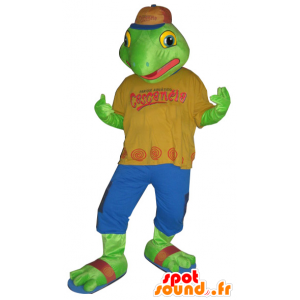 Green frog mascot dressed in a colorful outfit - MASFR032149 - Mascots frog