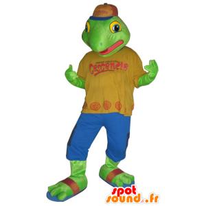 Grüner Frosch-Maskottchen in einem bunten Outfit - MASFR032149 - Maskottchen-Frosch