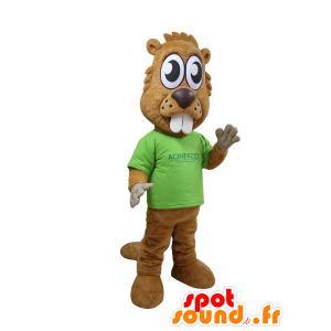 Brun bever maskot med store tenner og store øyne
