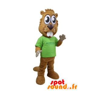 Hnědý bobr maskot s velkými zuby a velkýma očima