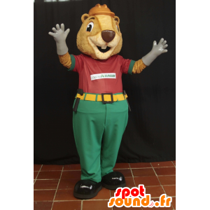 Beige beaver mascot worker held