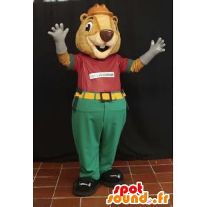 Mascotte de castor beige en tenue d'ouvrier
