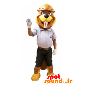Beaver mascot yellow and brown outfit site