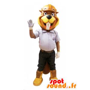 Mascotte de castor jaune et marron en tenue de chantier