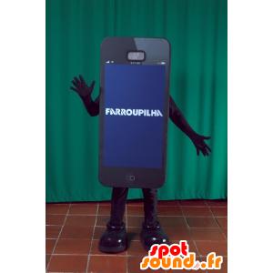Maskot černá smartphone obra. maskot telefon