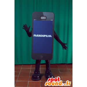 Maskotti musta älypuhelin jättiläinen. maskotti puhelin