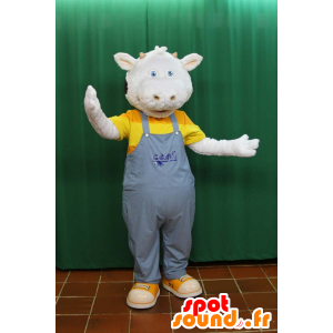 Mascot of black and white cow, wearing overalls - MASFR032160 - Mascot cow