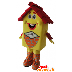 Yellow house mascot and red, very smiling - MASFR032163 - Mascots of objects