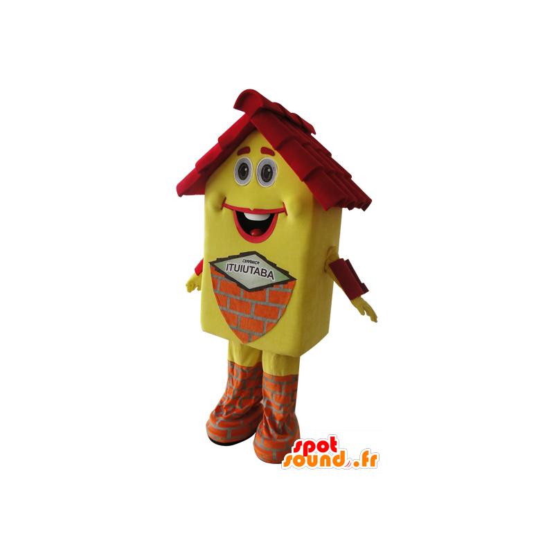 Keltaisen talon maskotti ja punainen, hyvin hymyilevä - MASFR032163 - Mascottes d'objets