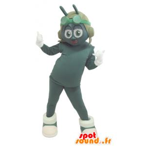 Mascot grün und weiß Insekt mit einem fliegenden Helm - MASFR032166 - Maskottchen Insekt