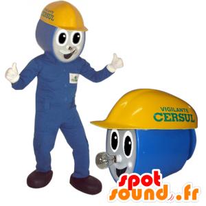 Elektricien mascotte, de werknemers in blauwe outfit - MASFR032167 - man Mascottes