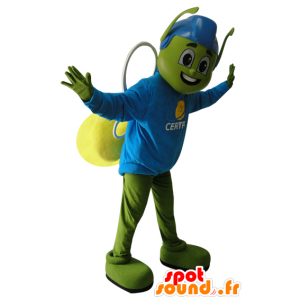 Mascot green and yellow insect with blue helmet - MASFR032168 - Mascots insect