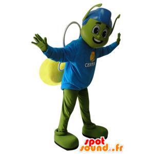 Grøn og gul insektmaskot med en blå hjelm - Spotsound maskot