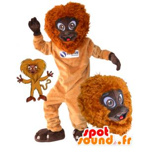Arancione scimmia mascotte e marrone, peloso e divertimento - MASFR032173 - Scimmia mascotte