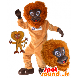Orange monkey mascot and brown, furry and fun - MASFR032173 - Mascots monkey