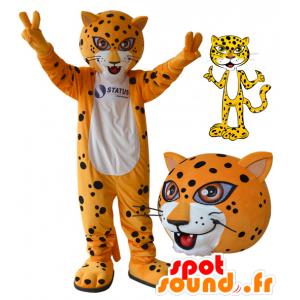 Tigre mascotte, leopardo arancione, bianco e nero - MASFR032174 - Mascotte tigre