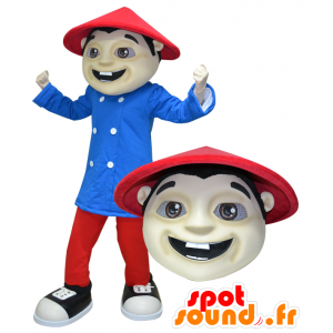 Mascot gekleidet asiatischen Mann in rot und blau - MASFR032176 - Menschliche Maskottchen