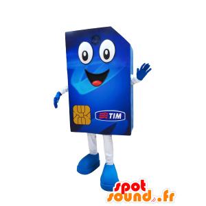 Mascotte de carte SIM bleue, géante et joviale