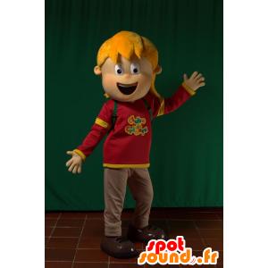 Mascot vaalea tyttö, hyvin iloinen - MASFR032185 - Maskotteja Boys and Girls