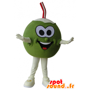 Giant coconut mascot, green and white - MASFR032189 - Food mascot
